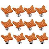 IdealDecor 12PCS Orange Cute Butterfly Porcelain Ceramic Door Knobs/Pull/Handle for Kitchen Cabinet Drawer Cupboard Chest,Vintage Dresser,Wardrobe & Baby Kid's Children's Furniture Decor