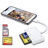 DenicMic SD CF Card Reader for iPhone iPad, 5 in 1 SD CF TF Memory Card Reader Adapter Camera Card Reader Trail Game Camera Viewer for iPhone 12/11/X/8 Plus/8/7 Plus/7, iPad Mini/Air, No App Required