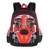 PGYFIS Waterproof Children Backpack Kid Backpack 3D Cute Car Cartoon School Backpack (red)