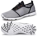 Water Shoes Womens-Aqua Water Shoes for Women Quick Drying Water Shoes Size 5 Outdoor Beach Swimming Barefoot Shoes Surfing Yoga Pool Exercise Grey/White 36 EU