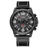 Mens Watches Quartz Analog Calendar Wrist Watch for Men Fashion Waterproof Chronograph Black Leather Watches (Black/White)