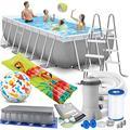 Intex Prism Frame Swimming Pool 488x244x107 cm Rechteck Stahlwand Leiter & Pumpe 26792 Komplett-Set mit Extra-Zubehör wie: Strandball und Luftmatratze