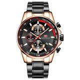 Men's Chronograph Watch MINIFOCUS Fashion Luxury Wristwatch for Male Sports Waterproof Watches with Stainless Steel Band Luminous Hand (Gold case)