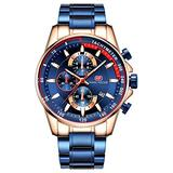 Men's Chronograph Watch MINIFOCUS Blue Fashion Luxury Wristwatch for Male Sports Waterproof Watches with Stainless Steel Band Luminous Hand (Blue)