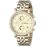 Fossil Women's ES2197 Gold-Tone Stainless Steel Watch with Link Bracelet