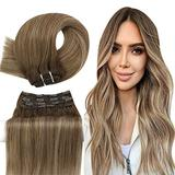 YoungSee Balayage Clip in Hair Extensions Human Hair 14inch Natural Hair Extensions Clip in Human Hair Blonde Clip in Hair Extensions 7PCS 100G Full Head Hair Extensions Brown to Blonde Hair Extensions