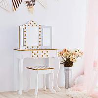 Teamson Kids TD-11670M Fashion Polka Dot Prints Gisele Toy Vanity Set, White/ Rose Gold