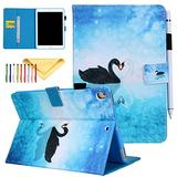 iPad 9.7 inch 2017/2018 Case/iPad Air Case/iPad Air 2 Case/iPad Pro 9.7 Case - Cookk Stand Wallet Auto Wake/Sleep Smart Cover for Apple iPad 9.7 Inch 2017/2018,iPad Air 1 2/Pro 9.7, Swan