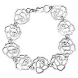 Hand Crafted Sterling Silver Link Bracelet with Floral Motif 'Dry Rose'