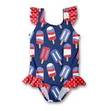 Millie Loves Lily Girls' One Piece Swimsuits - Navy Popsicle Ruffle-Accent One-Piece - Infant, Toddler & Girls