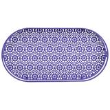 Bungalow Rose Sandford Oval Lace Decorative Plastic Vanity TrayGlass/Metal in Indigo, Size 2.65 H x 13.87 W in | Wayfair