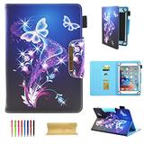 """UGOcase 8 Inch Tablet Universal Case, PU Leather Slim Fit Kickstand Folio Wallet Case Cover for iPad Mini, Samsung Galaxy Tab A/E/3 8.0, F i r e Hd 8, Nexus, HP, 7.5""""-8.5"""" Tablet, Butterfly"""