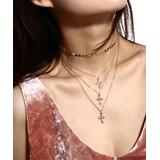 IngeSight.Z Women's Necklaces Gold - Goldtone Coin Triple Cross Layered Necklace