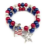 fiona Women's Bracelets Red - Red & Blue Flag Star Wire Wrap Bracelet