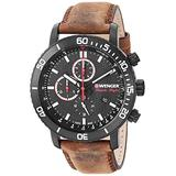 Wenger Men's Roadster Black Night Stainless Steel Swiss-Quartz Leather Strap, Brown, 19.3 Casual Watch (Model: 01.1843.107)
