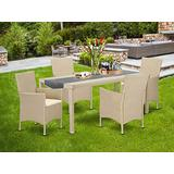 5 pc Courtyard Wicker Dining Set for 4 in Cream Finish