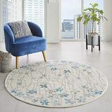 """Nourison TRA04 Tranquil Bohemian Floral Ivory Area Rug 5'XROUND, 5'3"""""""