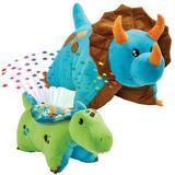 Pillow Pets Blue Dinosaur Plush Throw Pillow Polyester/Polyfill/Polyester/Polyester blend in Blue/Brown/Green, Size 14.0 H x 12.0 W x 6.0 D in