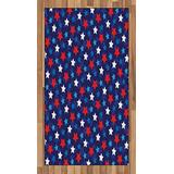 Ambesonne Navy Blue Area Rug, American Flag Inspired Patriotic Design with The Stars Image, Flat Woven Accent Rug for Living Room Bedroom Dining Room, 2.6' x 5', Red White Blue and Dark Blue