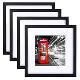 Senge 12x12 Picture Frame Black Picture Frame with Mat to 8x8 for Wall Mount or Table Top 4 Pack