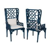 """Elk Home 694018P Bamboo Wing Back 24"""" Wide Two Piece Mahogany Dining Chair Set Blue"""