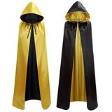 makroyl Unisex Reversible Hooded Cloak Cape for Christmas Halloween Party Vampires Cosplay Costumes (Black+Yellow, Large)