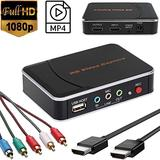 YOTOCAP 1080P HD Video Capture HDMI Video Game Capture Box Component YPBPR Recorder for PS3/ PS4/ Xbox 360/ Xbox One/Wii U/Switch Support Mic in. Save to USB Flash Drive
