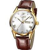 Mens Watches Day and Date,Wrist Watches for Men on Sale, Mens Brown Leather Watch,Men Rose Gold Wrist Watch,Leather Band Watches for Men,Dress Watches for Men,Leather Watch Men Date,Luminous Man Watch