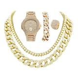 14k Gold Plated Bling-ed Out Oblong Case Metal Mens Watch w/Matching Cuban Chain Bracelet, Cuban Necklace, Tennis Chain & Ring Size 8-8475CRNTG (8)