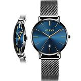 Woman Watch Mesh Black Stainless Steel,Female Watches with Date, Ultra Thin Watches for Women,Fashion Ladies Watch on Sale,Simple Quartz Ladies Watch Waterproof,Casual Lady Watches Analog Blue Dial