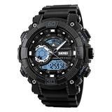 FEIWEN Large Dial Plastic Watch for Men Multifunction Stopwatch Alarm Calendar Analog Quartz Dual Dial Display Outdoor Military Sports Digital Wrist Watch 50M Waterproof, Black