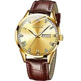 Mens Gold Watches Leather,Day Date Watches for Men,Brown Leather Men Watch,Waterproof Leather Watch Men,Dress Watch for Men,Men's Analog Leather Watch,Roman Numeral Watch,Luminous Watches