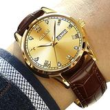 Fashion Men Watch with Brown Leather,Mens Quartz Watch with Date,Gold Leather Watch Men,Waterproof Business Casual Watches Men,Dress Watches for Men,Men Watches on Sale Clearance,Luminous Male Watch