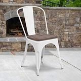 EMMA + OLIVER White Metal Stackable Chair with Wood Seat