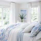Pine Cone Hill Quinn Cotton Blanket Cotton in Blue, Size 90.0 H x 69.0 W in | Wayfair PC423-T