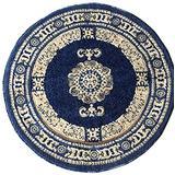 Traditional Round Persian Area Rug Dark Blue Beige Carpet King Design 121 (5 Feet 3 Inch X 5 Feet 3 Inch )