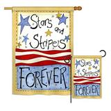 Breeze Decor Stars & Stripes Americana Patriotic 2-Sided Polyester 2 Piece Flag Set in Brown, Size 28.0 H x 18.5 W in   Wayfair