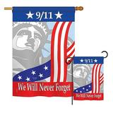 Breeze Decor September 11th Americana Patriotic Impressions 2-Sided Polyester 2 Piece Flag Set in Red/Blue/Gray | Wayfair