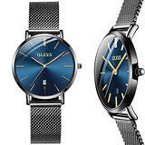 Blue Slim Watches for Women,Ultra-Thin Watches for Women,Black Stainless Steel Mesh Watch for Women,Quartz Dress Watches for Lady,Ladies Fashion Watches,Women's Date Watch,Women Waterproof Watch
