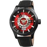 Joshua & Sons Sporty Rugged Unique Men's Watch - Fan-Like Dial Plate Set ATOP a Deep Set Dial with Bold Markers and Hands - JX150 (Black and Red)