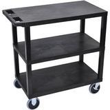 "Luxor EC222HD-B 18 x 32"" Three-Shelf Plastic Heavy Duty Utility Cart (Black) EC222HD-B"