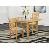 East West Furniture 3-Piece Kitchen Set – 2 Dining Room Rectangular Table Top – Slatted Back and Linen Fabric Chair Seat, Oak