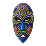 African beaded wood mask, 'Beaded Love'