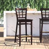 Regal Beechwood Lattice Back Wood Seat Bar & Counter Stool Wood in Black, Size 45.0 H x 18.0 W x 19.0 D in | Wayfair R2411W
