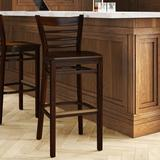 Regal Beechwood Ladder Back Wood Seat Bar & Counter Stool Wood in Brown, Size 43.0 H x 18.0 W x 20.0 D in | Wayfair R415W