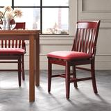 Regal Beechwood School House Seat Upholstered Dining ChairFaux Leather/Wood/Upholstered in Brown/Red, Size 34.5 H x 19.0 W x 20.0 D in   Wayfair