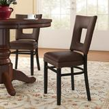 Regal Beechwood Square Open Back Fully Seat Upholstered Dining ChairFaux Leather/Wood/Upholstered in Brown, Size 35.0 H x 18.0 W x 19.0 D in Wayfair