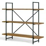"""Ailis 56"""" Brown Pine Wood Metal Frame Etagere Three Wide Shelf Bookcase Media Center - Glamour Home GHDSV-1164"""