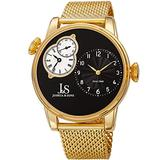 Joshua & Sons Men's Dual-Time Two-Tone Guilloche Watch - Multifunction Unique 3 Subdials On Stainless Steel Mesh Bracelet - JX154 (Gold Tone Case/Black Dial)