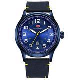 Luxury Mens Nylon Strap Quartz Fashion Casual Military Sports Auto Date Waterproof Business Watches (Blue)